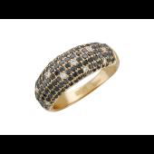 Кольцо широкое с бриллиантами чёрными и прозрачными, красное золото