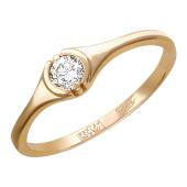 Кольцо Солитер с бриллиантом, красное золото