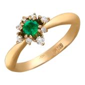 Кольцо с бриллиантами и сапфиром/рубином в центре, красное золото