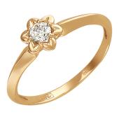 Кольцо Звезда с бриллиантом, красное золото