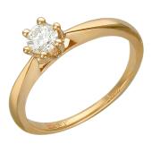 Кольцо помолвочное с бриллиантом, красное золото