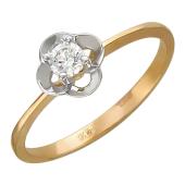 Кольцо Цветок с фианитами, красное золото