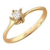 Кольцо Раковина с бриллиантом, красное золото