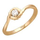 Кольцо с бриллиантом в волнистом держателе, красное золото