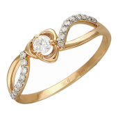 Кольцо с бриллиантами, россыпь бриллиантов, красное золото