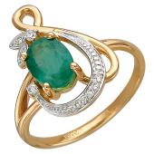 Кольцо Бесконечность с бриллиантами и крупным овальным изумрудом, красное золото