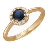 Кольцо с сапфиром круглым и бриллиантами вокруг, красное золото