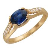 Кольцо с овальным изумрудом и дорожкой бриллиантов, красное золото