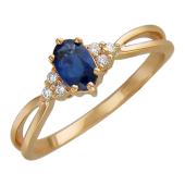 Кольцо с бриллиантами и овальным сапфиром, красное золото