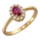 Кольцо Принцесса с бриллиантами и рубином (сапфиром, изумрудом), красное золото