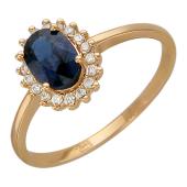 Кольцо Принцесса с бриллиантами и овальным изумрудом/сапфиром, красное золото