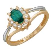 Кольцо Принцесса с овальным сапфиром и бриллиантами вокруг, красное золото