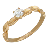 Кольцо Лавр с бриллиантом, красное золото