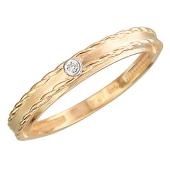 Кольцо с бриллиантом и волнистыми линиями по краям, красное золото