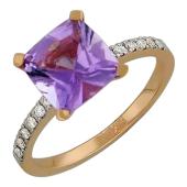 Кольцо с аметистом и бриллиантами, красное золото