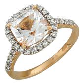 Кольцо с большим топазом кушен и бриллиантами, красное золото