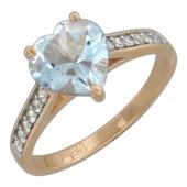 Кольцо Сердце с топазом и бриллиантами, красное золото