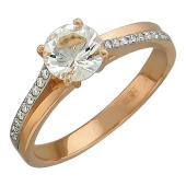 Кольцо с бриллиантами и круглым топазом, красное золото