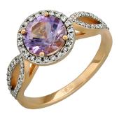 Кольцо с бриллиантами и круглым аметистом, красное золото