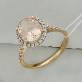Кольцо с морганитом и бриллиантами, красное золото