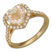 Кольцо Сердце с морганитом и бриллиантами, красное золото