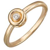 Кольцо с бриллиантом в круге, красное золото