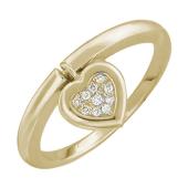Кольцо с подвеской Сердечко, бриллианты, красное золото