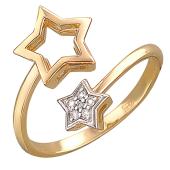 Кольцо Звезды с бриллиантами разомкнутое, красное золото