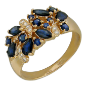 Кольцо Букет Цветов с бриллиантами и сапфирами (рубинами), красное золото