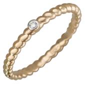 Кольцо Викс канатное с бриллиантом, красное золото