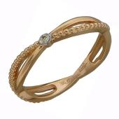 Кольцо Викс Бесконечность с бриллиантом, красное золото