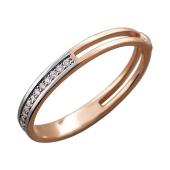 Кольцо Дуэт с бриллиантами, красное золото