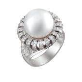 Кольцо с морским жемчугом и бриллиантами из белого золота 585 пробы