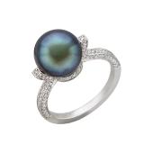 Кольцо с бриллиантами и жемчугом из белого золота 585 пробы