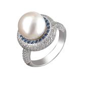 Кольцо с бриллиантом, сапфиром и жемчугом из белого золота 585 пробы