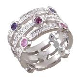 Кольцо с аметистом, родолитом, розовым сапфиром и бриллиантами, белое золото 585 пробы
