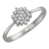 Кольцо, белое золото, бриллиантовый цветок
