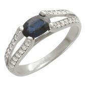 Кольцо с бриллиантами и овальным сапфиром/рубином, белое золото