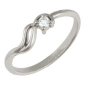 Кольцо, белое золото, бриллиант, волна
