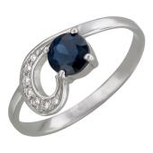 Кольцо с круглым сапфиром/рубином и бриллиантами, белое золото