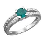 Кольцо с бриллиантом и изумрудом из белого золота 585 пробы