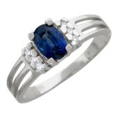 Кольцо с овальным драгоценным камнем и мозайкой бриллиантов, белое золото