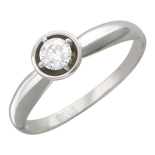 Кольцо с бриллиантом в круглой оправе, белое золото 094f4a43669
