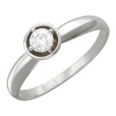 Кольцо с бриллиантом в круглой оправе, белое золото
