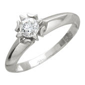 Кольцо с бриллиантом в оправе-звезда, белое золото