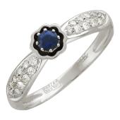 Кольцо Цветок с бриллиантами и сапфиром, белое золото