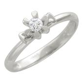 Кольцо, белое золото, бриллиант, цветок на подложке