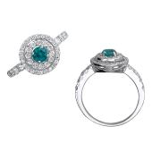 Кольцо с бриллиантами и изумрудом из белого золота 585 пробы