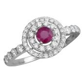 Кольцо с бриллиантом и рубином из белого золота 585 пробы
