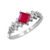 Кольцо с бриллиантами и рубином из белого золота 585 пробы